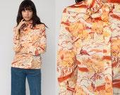 Novelty Print Blouse FISHING PRINT Tree Shirt 70s Disco Top Hippie 1970s Boho Vintage Hipster Long Sleeve Button Up Nature Medium