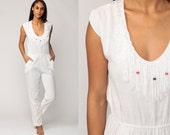White Jumpsuit 80s FRINGE Boho Tapered Pants Pantsuit Slim Skinny Vintage Cap Sleeve Romper 1980s High Waisted Cotton Bohemian Medium