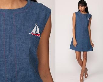 Mod Mini Dress SAILBOAT 70s Shift Nautical Sailor Boho Hippie 60s Vintage Sleeveless Sail Boat Blue Medium Large