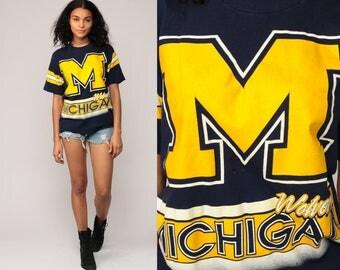 Michigan Wolverines Shirt University Football T Shirt DISTRESSED 80s College Football T Shirt Graphic Jersey Tee Sports Vintage Retro Medium