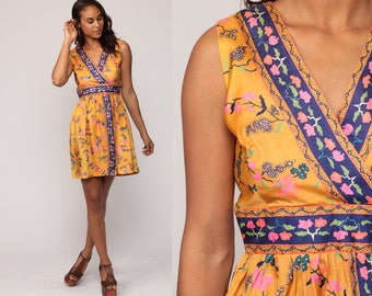 Boho Dress 70s Mini Floral Print Babydoll Dress 1970s Vintage Empire Waist Bohemian Deep V Neck Summer Orange Sleeveless Small Medium
