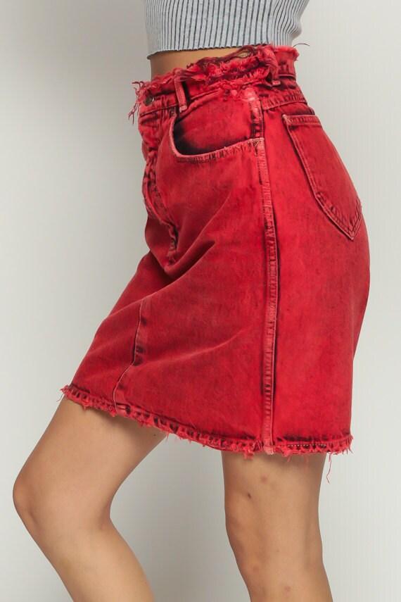 Calvin Klein Skirt Jean Skirt Denim Mini Skirt Red ACID Wash