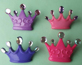 PRINCESS CROWNS Fairytale Queen Girl Pink Lilac Purple Dress It Up Craft Buttons