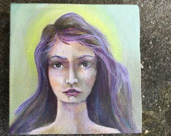 Original Mixed Media Fantasy Girl Painting