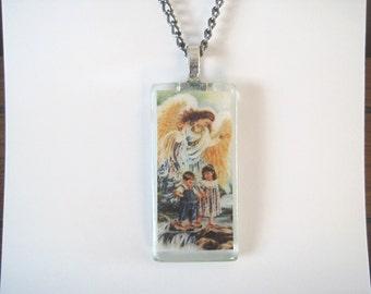 Guardian Angel Glass Pendant Necklace.