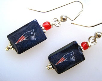 New England Patriots. Petite Mother of Pearl Shell Earrings. Handmade.