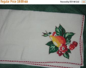 SALE- 36 in x 36 in White Tablecover with Applique and Decorative Stitching