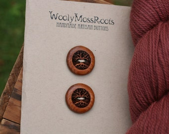 2 Wood Tree Buttons- Oregon Yew Wood- Wooden Buttons- Eco Craft Supplies, Eco Knitting Supplies, Eco Sewing Supplies