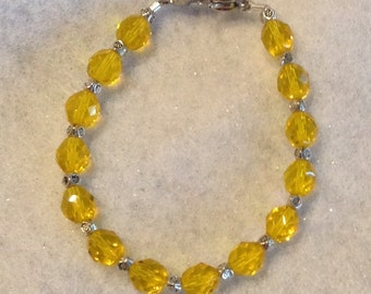 Bracelet Czech Yellow Fire-Polished Beaded Bracelet or Medical Alert Allergy ID Replacement Bracelet or Watchband by madeforUjewelry on Etsy