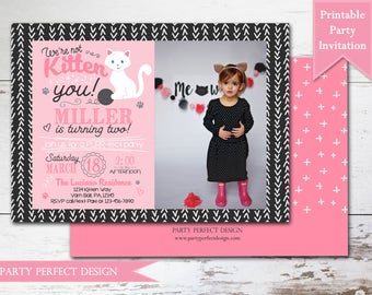 Kitten Birthday Party Invitation - Pink and Black birthday- Print Your Own