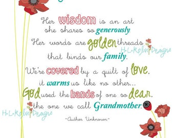"Digital Download: A ""Grandmother"" Poem Print"