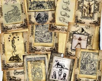 Werewolf Manuscript, Digital 15 Page Set - Monster Horror Halloween Spell Book, Scrapbook Paper, Book of Shadows, Graphics, medieval