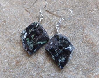 Chrysoprase earrings -  black  gray green organic Chrysoprase - Australian gem stone jewelry - ethical sourced crystal jewellery