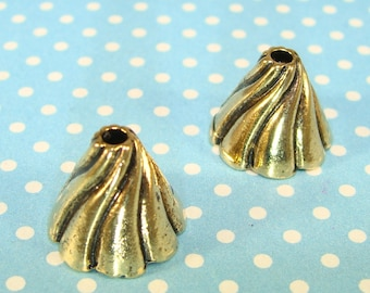 6 Gold SWIRL End Cap Cones Jewelry Bead Cap 13mm x 14mm (42860) Angel Body Beads Christmas Ornament Bulk Findings Jewelry Supply