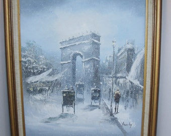 Original Oil Painting on Canvas By:MONTY? Arc de Triompe Paris Winter Snow Scene