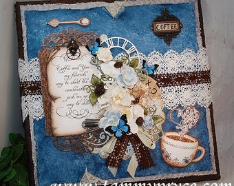 """Ooak Original Mixed Media 12x12"""" Coffee Stretched Canvas Heartfelt Creations Themed Shabby Chic style Home decor wall hanging"""