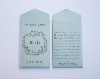 Tan Let Love Grow Custom Seed Packet Wedding Favors by