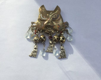 Vintage Kitty Cat Large Charm Pin Small Kitties and Beads