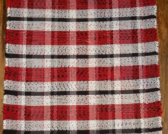 Handwoven Rag Rug - Red, White Black - Inv. ID #04-0171