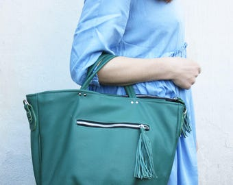 Cedar green womens leather purse, leather hobo, womens handbag, work bag, shoulder bag, large bag, weekend bag, roomy bag for new moms