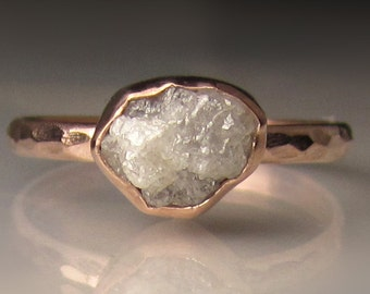 Raw Diamond Engagement Ring, Hammered Raw Diamond Ring, 14k Rose Gold Rough Diamond Ring , 1.75 Carats