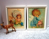 HOLDING Pair of Adorable Vintage Mary Hamilton Little Angel Prints, Framed w/ Original Gold Tags, Pastel Bluebird Giant Greeting Cards