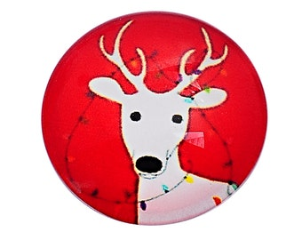 free UK postage Pack of 4 Glass Red Christmas Cabochon Reindeer