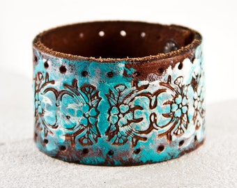 Turquoise & White Bracelet Cuff Tooled Leather Jewelry