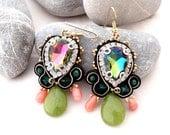 dangle jade coral earrings   swarovski chandelier sparkle earrings   coral statement earrings   green gold black earrings   Picasso