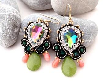 dangle jade coral earrings | swarovski chandelier sparkle earrings | coral statement earrings | green gold black earrings | Picasso