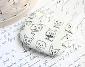 Cute Kitties Coin Purse Small Zipper Pouch Black and White Cats Change Purse