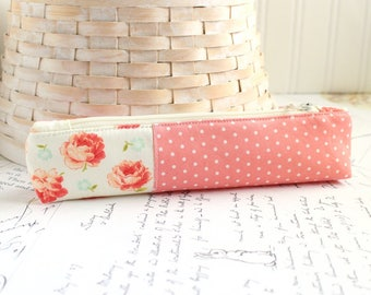 Pencil Case Pink Floral Skinny Pencil Pouch Students Back to School Organizer