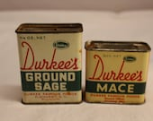 Vintage Durkee's Mace and Ground Sage Spice Tins #2