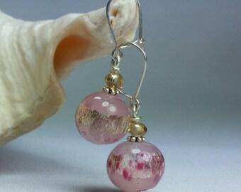 Rose Earrings in Murano glass , Gustav Klimt style