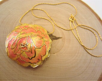Cloisonne jewelry. Rose pendant. Enamel necklace. Gold, yellow, pink flower. Statement pendant. Double sided jewelry. Gift for her.