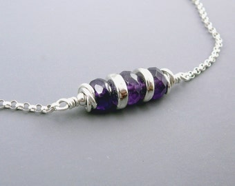 Amethyst Choker Necklace, February Birthstone Jewelry, Amethyst Jewelry, Silver Choker Necklace, Horizontal Bar Necklace, 925 Silver
