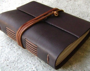 "Handmade rustic leather journal, 4"" x 6"", dark brown journal, old world journal, (2222)"
