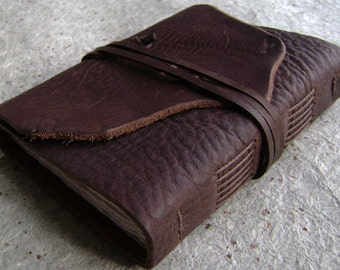 """Rustic leather journal, 4"""" x 6"""", old world journal, leather travel diary, leather sketchbook, (2414)"""