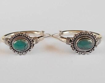 Balinese Silver sterling hoop earrings turquoise cabochon  / silver 925 / Bali handmade jewelry / 1.25 inch long / (#610m)