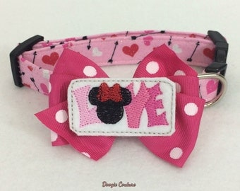 I Love Minnie Mouse Inspired Dog Collar Size XS through Large by Doogie Couture Pet Boutique