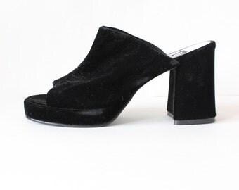 Vintage 1990s Black Velvet Block Heel Slides, size 9