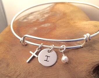 Cross bracelet - Initial bracelet - STERLING SILVER expandable bangle - Godmother Goddaughter gift - Adjustable charm bracelet