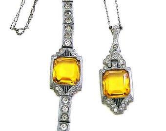 Nov E Line Honey Topaz Art Deco Bracelet and Necklace Set
