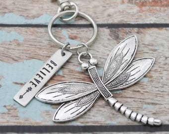 Believe Dragonfly Keychain, Personalized Hand Stamped Inspirational Keychain, Gift for Her, Inspirational Key chain