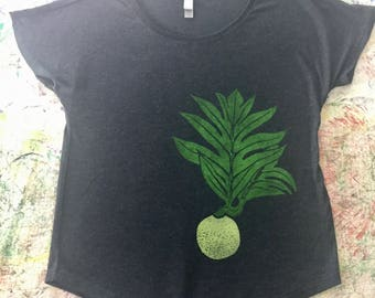 Women's Blouse, Charcoal, with One (1)  Block Printed Green & Yellow ʻUlu (Breadfruit)