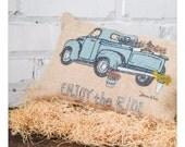 SHOP HOP DEAL Old pick yup truck burlap pillow