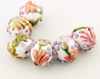 Lampwork Glass Bead Set Garden Florals Lavender, Orange, Pink, Peach Flowers 'Spring Bouquet'