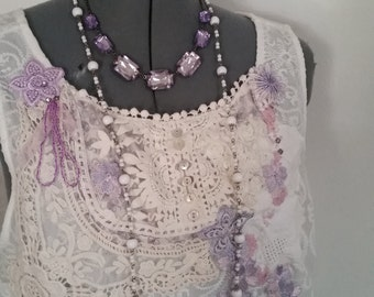 wearable art, handmade clothing, hand embellished top, embroidery applique, lace tank top, upcycled top, incredible lace and details