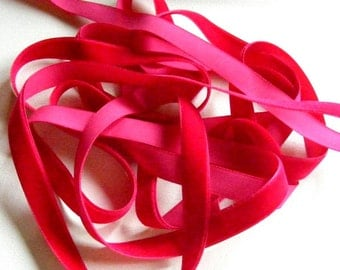Vintage 1940's German Rayon Velvet Ribbon 5/8 Inch Dark Pink