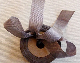 Vintage French 1930's-40's Woven Ribbon -Milliners Stock- 5/8 inch Silvery Brown
